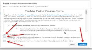YouTube Monetisation Setting