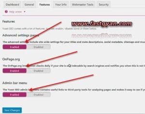 Yoast general seo plugin features setting
