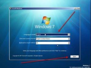 windows 7 install setting